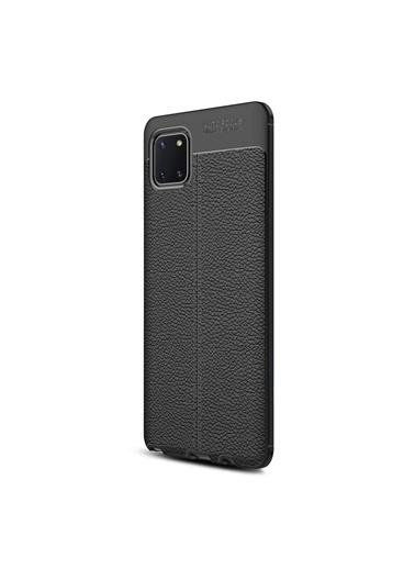 Microsonic Samsung Galaxy Note 10 Lite Kılıf Deri Dokulu Silikon Siyah Siyah